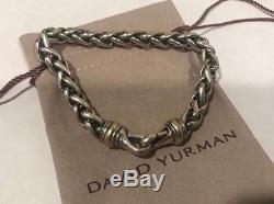 David Yurman Sterling Silver & 14K Gold Wheat Chain Bracelet 8mm 8