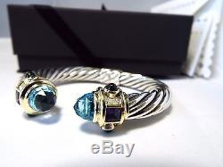 David Yurman Sterling Silver &14K Topaz 10MM Cable Renaissance Bracelet