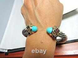 David Yurman Sterling Silver & 14K Turquoise 10MM Renaissance Bracelet