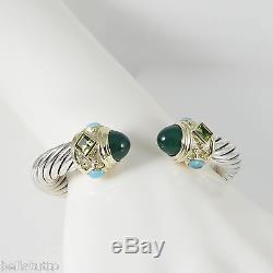 David Yurman Sterling Silver 14k 10mm Green Onyx Turquoise Renaissance Bracelet