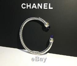 David Yurman Sterling Silver 14k Gold 5mm Amethyst Cable Bracelet