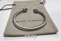David Yurman Sterling Silver 14k Gold 5mm Red topaz Cable Bracelet