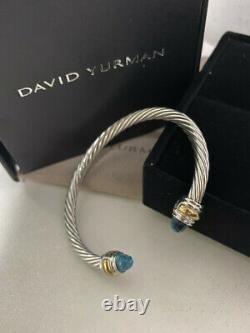 David Yurman Sterling Silver 14k Gold 5mm blue topaz Cable Bracelet