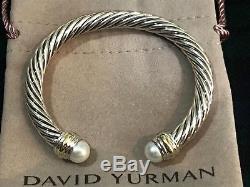 David Yurman Sterling Silver & 14k Gold & Pearl 7mm Cable Cuff Bracelet NWOT