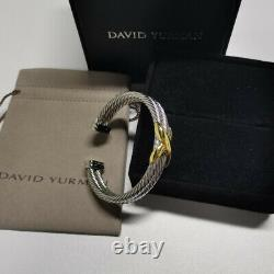 David Yurman Sterling Silver 14k Gold double X 10mm Cable Cuff large Bracelet
