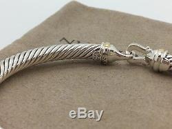 David Yurman Sterling Silver & 18K Gold 5mm Buckle Cable Bangle Bracelet