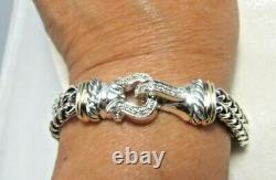 David Yurman Sterling Silver&18K Pave Diamond Buckle Double Wheat Chain Bracelet
