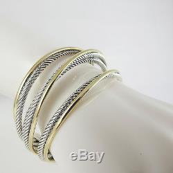 David Yurman Sterling Silver 18k 4-row Crossover Cuff Bracelet