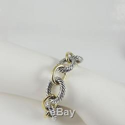 David Yurman Sterling Silver 18k 8 Extra Large Oval Link Bracelet