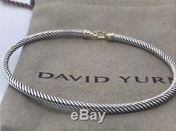 David Yurman Sterling Silver 18k Gold 3mm Buckle Cable Bangle Bracelet
