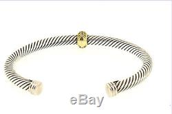 David Yurman Sterling Silver 18k Gold 5mm Cable Cuff Bracelet withYellow Sapphire
