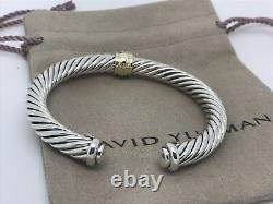 David Yurman Sterling Silver & 18k Gold 7mm Station Diamond Cuff Bangle Bracelet