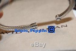 David Yurman Sterling Silver & 18k Gold X Station 4mm Cuff Bangle Bracelet