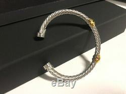 David Yurman Sterling Silver 5mm Cable Cuff MEDIUM Bracelet 14k Gold gemstone