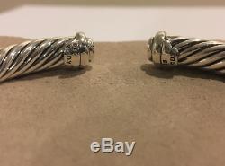 David Yurman Sterling Silver 7mm Cable Buckle Cuff Bracelet, Pave Diamond