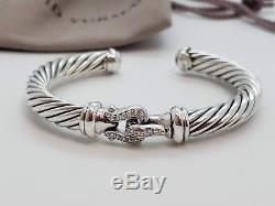 David Yurman Sterling Silver 7mm Diamond Buckle Bracelet