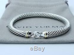 David Yurman Sterling Silver 925 5mm Cable 18k Gold Buckle Cuff Bracelet