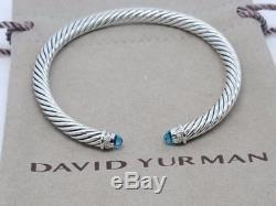 David Yurman Sterling Silver 925 5mm Cable Blue Topaz Diamonds Cuff Bracelet