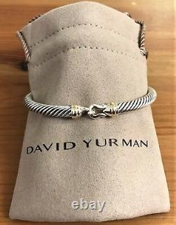 David Yurman Sterling Silver 925 5mm Cable Buckle Bangle Bracelet with 18K Gold