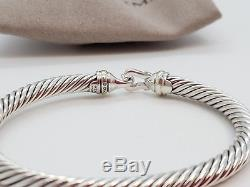 David Yurman Sterling Silver 925 5mm Cable Buckle with18k Gold Cuff Bracelet