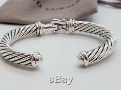 David Yurman Sterling Silver 925 7 mm Cable Diamond Buckle Cuff Bracelet Hinged