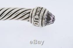 David Yurman Sterling Silver Amethyst & Diamond Classic 7mm Cable Bracelet