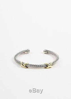 David Yurman Sterling Silver And 14k Yellow Gold Double X 5mm Cable Bracelet