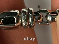David Yurman Sterling Silver Black Diamond Men's Box Chain 5mm Cross Bracelet
