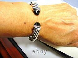 David Yurman Sterling Silver Black Onyx 10MM Waverly Cuff Bracelet