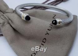 David Yurman Sterling Silver Black Onyx & 14K Gold 5mm Cable Cuff Bracelet