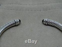 David Yurman Sterling Silver Black Onyx & Diamond 5mm Cable Cuff Bracelet