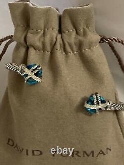 David Yurman Sterling Silver Cable Wrap 10mm Blue Topaz diamond CUFF Bracelet