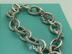 David Yurman Sterling Silver Classic Cable 12' mm Oval Link Chain 8' In Bracelet