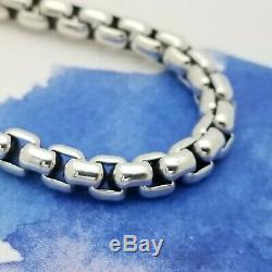 David Yurman Sterling Silver Classic Mens 5'mm Box Chain 8' Inch Bracelet