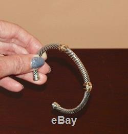 David Yurman Sterling Silver Diamond & 14k Gold 5mm Cable Cuff Bracelet