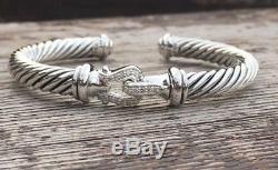 David Yurman Sterling Silver Diamond Buckle 7mm Cuff Bracelet