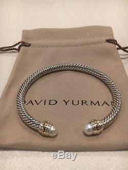 David Yurman Sterling Silver Pearls & 14k Gold 5mm Cable Cuff Bracelet W. Pouch