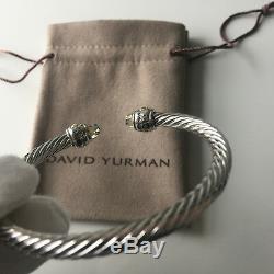David Yurman Sterling Silver Prasiolite & 14K Gold 5mm Cable Cuff Bracelet