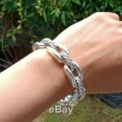 David Yurman Wellesley Chain Link Cuff 14mm Wide Sterling Silver Bracelet
