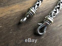 David Yurman Wheat Chain Bracelet with Sterling Silver & 14K Gold 6mm 7.5