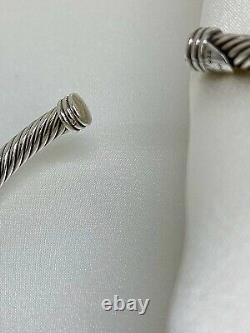 David Yurman X 4mm Sterling Silver 925 Cable Cuff Bracelet W 18K Gold Sz Medium