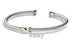 David Yurman X Bracelet 4mm with 18k Gold Size Small
