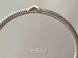 David Yurman X Station Bracelet 4mm 925 Sterling Silver 18K Gold Size Medium
