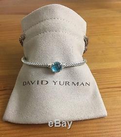 David Yurman chatelaine Bracelet With Blue Topaz 925 Sterling Silver 3mm