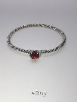 David Yurman chatelaine Bracelet With Red Garnet 925 Sterling Silver 3mm