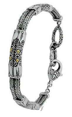 Devata Bali DragonSkin Sterling Silver 925 Bracelet 18K Gold DHK3165TT Adj Size