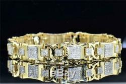 Diamond Bracelet 8.00 ct Pave Set Designer Mens 10K Yellow Gold Over 8.25