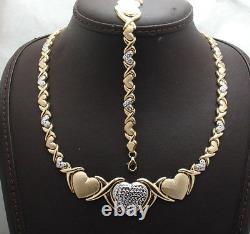 Diamond Cut Hearts & Kisses Bracelet Necklace Set 10K Two-Tone Gold Clad Silver