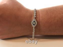 EVIL EYE TENNIS BRACELET With LAB DIAMONDS/ 925 STERLING SILVER / 7.5'