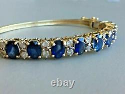 Estate 14k Yellow Gold Finish 10 Ct Sapphire And Diamond Women's Bangle Bracelet